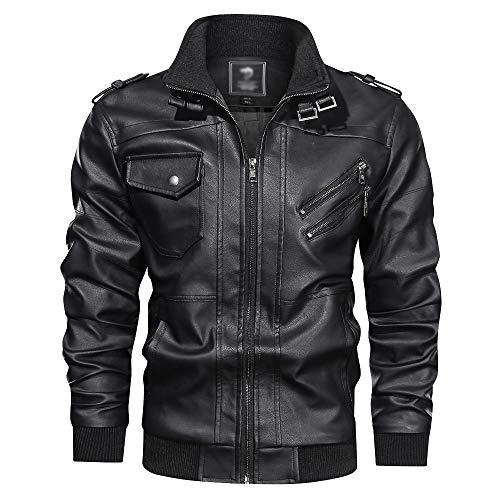 ECGZS para Hombre de la Chaqueta de Motorista de Cuero PU Bombardero Abrigos Militares Outwear clásico Motocicleta del Collar Soporte Impermeable Tops,Black-2XL