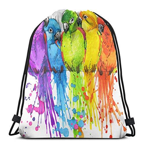 BXBX billig Parrots Watercolor Unisex Home Gym Sack Bag Travel Drawstring Backpack Bag