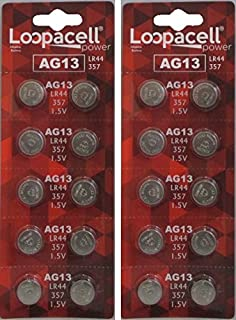 Loopacell LR44 AG13 357 303 SR44 L1154 A76 Battery 1.5V Button Coin Cell 20 Batteries