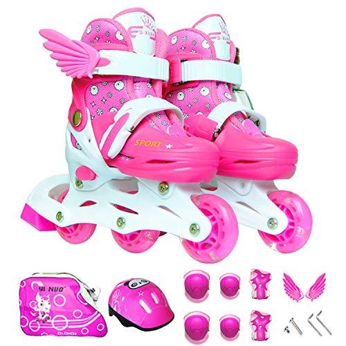 Sumeber Inline Skates Kinder mit Verstellbarer Länge Kid Boys Girls Rollschuhe Outdoor/Indoor (Pink-Inline, XS (27-30))