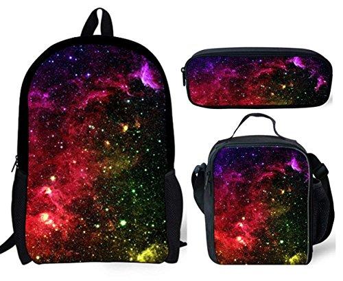 POLERO Schöne Mode Pusheen Galaxy Schule-Rucksack-Rucksack mit Lunch Box und Federmäppchen 3 PCS