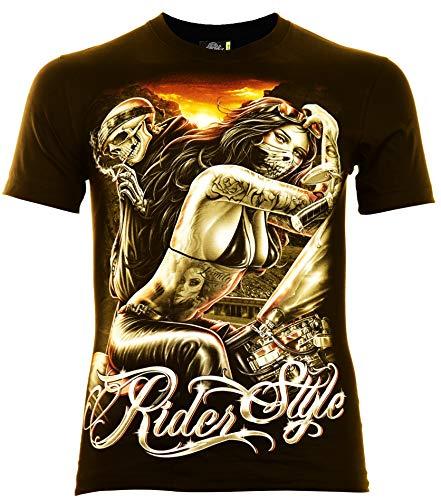 Rider Style Herren T-Shirt Schwarz Gr. XL Glow in The Dark