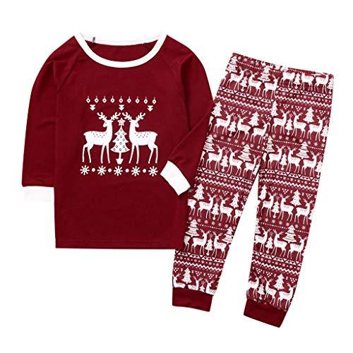 Weihnachten Schlafanzug,Wein Rot Weihnachten Fawn Letter Print Top + Pants Pyjamas,Langarm Weihnachten Pyjama Set,Weihnachts Pyjama Familie Set Baumwolle Damen Herren Mädchen Set (Baby, 80)