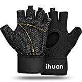 ihuan Breathable Weight Lifting Gloves: Fingerless Workout Gym Gloves with Wrist Support   Enhance Palm Protection   Extra Grip for Fitness   Lifting   Training   Rowing   Pull-ups…