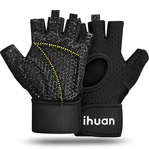 ihuan Breathable Workout Gloves for Men & Women Fingerless Weight Lifting Gym Gloves with Wrist Support | Enhance Palm Protection| Extra Grip for Fitness | Lifting | Training | Rowing | Pull-ups