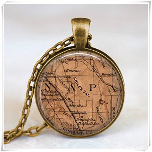 Beautiful Dandelion Collar de mapa de Napa California, colgante de mapa de vino de Napa