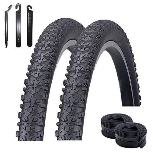 maxxi4you Kenda K-922 27.5' - Juego de 2 cubiertas para bicicleta de montaña (27,5 x 2,10) + 2 cámaras de aire DV19 + 3 desmontadores de neumáticos, color negro