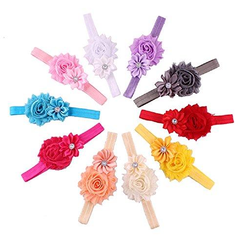 10pcs Bébé élastique Fleur Multicolore Bande de Cheveux Bandeau en Strass,Bandeau Élastique pour Bébé Fille Enfant Photographie