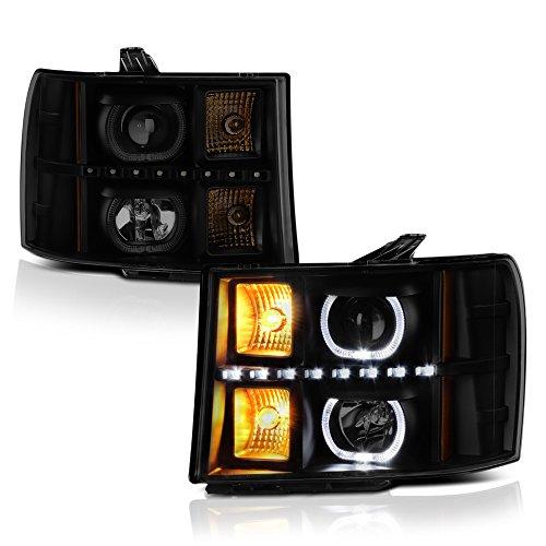 VIPMOTOZ Black Housing Smoke Lens LED Halo Ring Projector Headlight Assembly For 2007-2013 GMC Sierra 1500 2500HD 3500HD Pickup Truck, Driver & Passenger Side