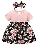 Amissz Robe bébé fille bébé fille manches courtes t-shirt tutu robe + noeud papillon tenue enfant tulle jupe princesse été (6 mois - 3 ans) - Rouge - 2 ans