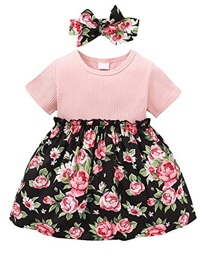 Amissz Vestido de niña de manga corta con tutú y nudo de lazo para niños pequeños (6 meses - 3 años)