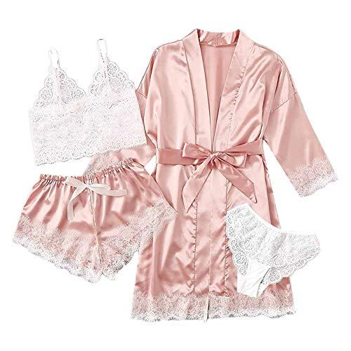 Nachthemden für Damen 5PC Nachtwäsche Unterwäsche Nachthemden Kleid Anzug Satin Schlafanzug Kimono Pyjama Set Babydoll Negligee Sling Lingerie Morgenmantel Robe Frauen Spitze Kurzarm Hausanzug