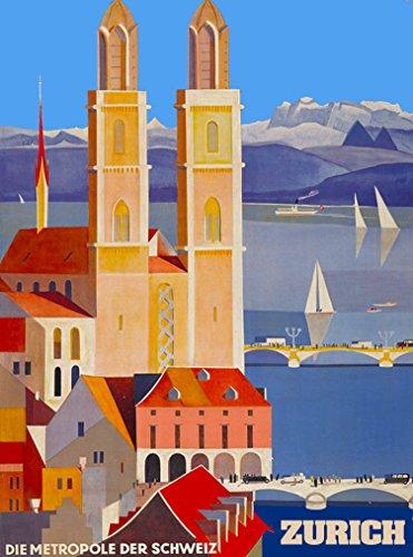 A SLICE IN TIME Zurich Die Metropole Der Schweitz Suisse Switzerland Swiss Vintage Travel Advertisement Art Collectible Wall Decor Poster Print. 10 x 13.5 inches.