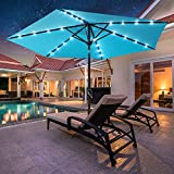 MOVTOTOP Patio Umbrella, 9ft Umbrella Outdoor Patio with LED Lights, Tilt and Crank Patio Umbrella with Solar Lights for Garden, Deck, Backyard, Pool and Beach, Without Base