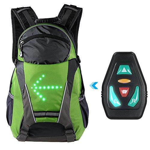 Lixada Fahrrad Rucksack mit LED Blinker Licht Radfahren Bike Reflektierende Tasche Pack 18L Outdoor Sicherheit Nacht Reiten Lauf Camping