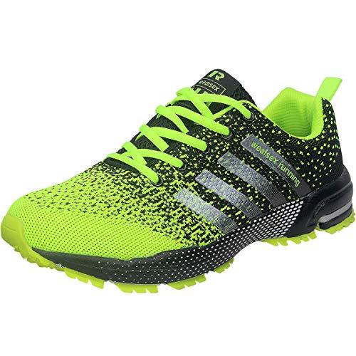 Wealsex Zapatos para Correr En Montaña Asfalto Aire Libre Deportes Zapatillas De Running para Hombre (42, Verde)