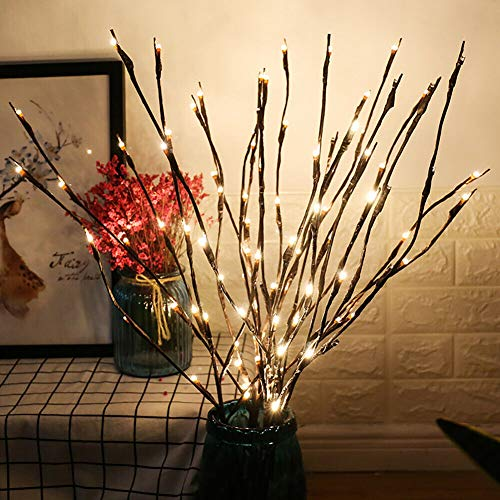 LED Branch Lights Battery Powered Decorative Lights Willow Twig Lighted Branch for Home Decoration Cool White - 20 Inches 20 LED - 2 Pack
