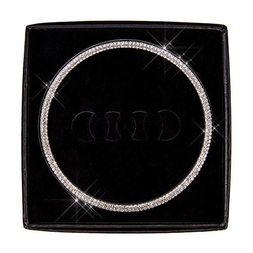 shseth Bling Bling Auto Lenkrad Logo Abzeichen Emblem Cover Diamant Dekoration, einzigartiges Geschenk für Frauen(AUDI-WAI02)