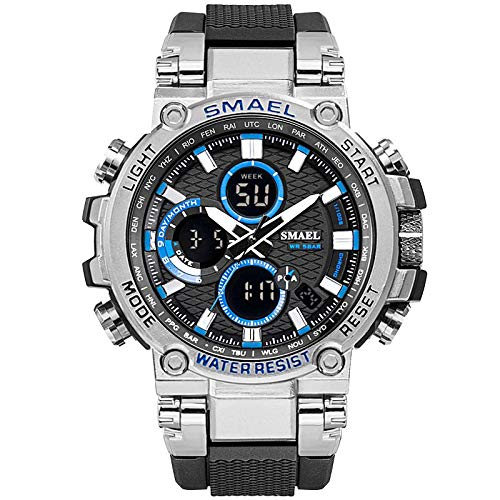 xiaoxioaguo Reloj deportivo para hombre, resistente al agua, 5 bares, hora dual, reloj militar resistente a los golpes, reloj despertador
