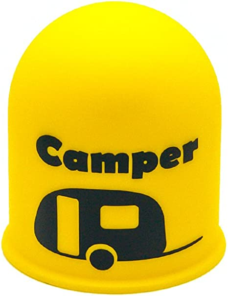 Schutzkappe Anhängerkupplung Blickfang Campingplatz Wohnwagen Caravan Gelb Auto