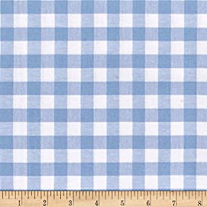 Cotton + Steel Checkers Yarn Dyed Gingham Woven 1/2in Sky Fabric by The Yard