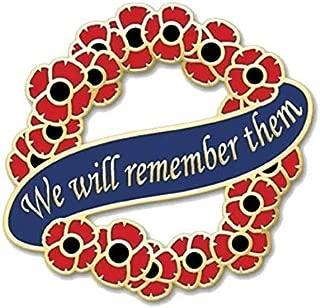 Poppy Wreath We Will Remember Them Lapel Pin