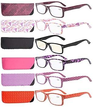 Eyekepper 6-Pack Spring Hinges Patterned Rectangular Reading Glasses Include Computer Readers Women +2.5
