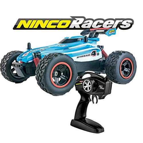 Ninco NincoRacers-Stream. Coche teledirigido con tracción a 2 ruedas. Aceleración progresiva. 2,4Ghz Color azul. Medidas: 21 cm x 15 cm x 8,5 cm. A partir de 6 años NH93130