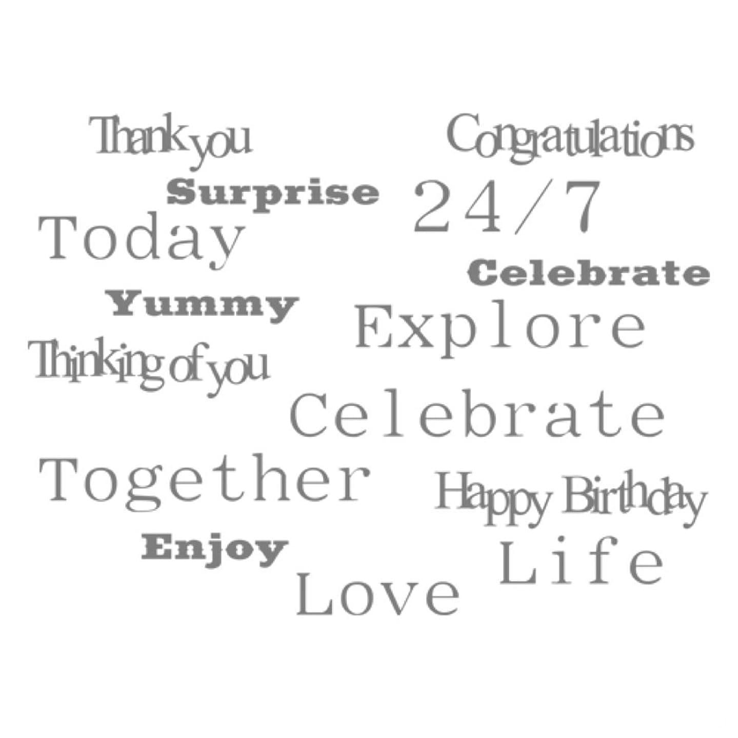 Spellbinders Celebrations Many Words Stamp Set