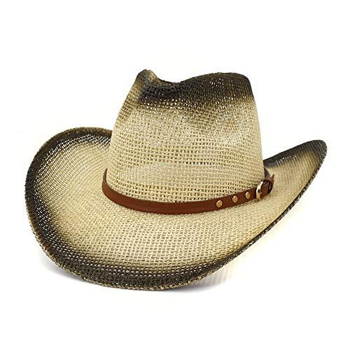 Elegante, de ala ancha, tamaño grande Sombrero de vaquero occidental de las mujeres de los hombres simple hecho a mano de paja Sombrero for el sol Sombrero de vacaciones en la playa Protector solar Ci