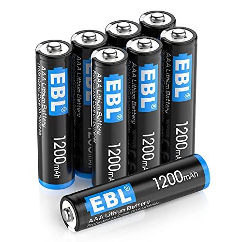 EBL Pilas AAA de 1,2 V, 8 unidades, 1200 mAh para mandos a distancia, juguetes, cámaras digitales (no recargables)