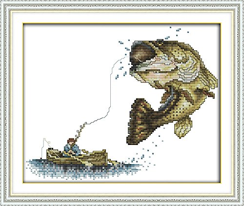 CaptainCrafts New Cross Stitch Kits Patterns Embroidery Kit - Fishing (White)
