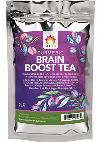 Shifa Brain Boost Tea With Turmeric: Rejuvenating Tonic Enhances Memory, Focus and Mood with Herbs, Phytonutrients and Antioxidants — 1.5 oz.