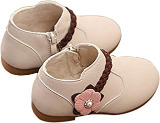 Hopscotch Baby Girls Pu Boots with Flower Applique in Ivory Color