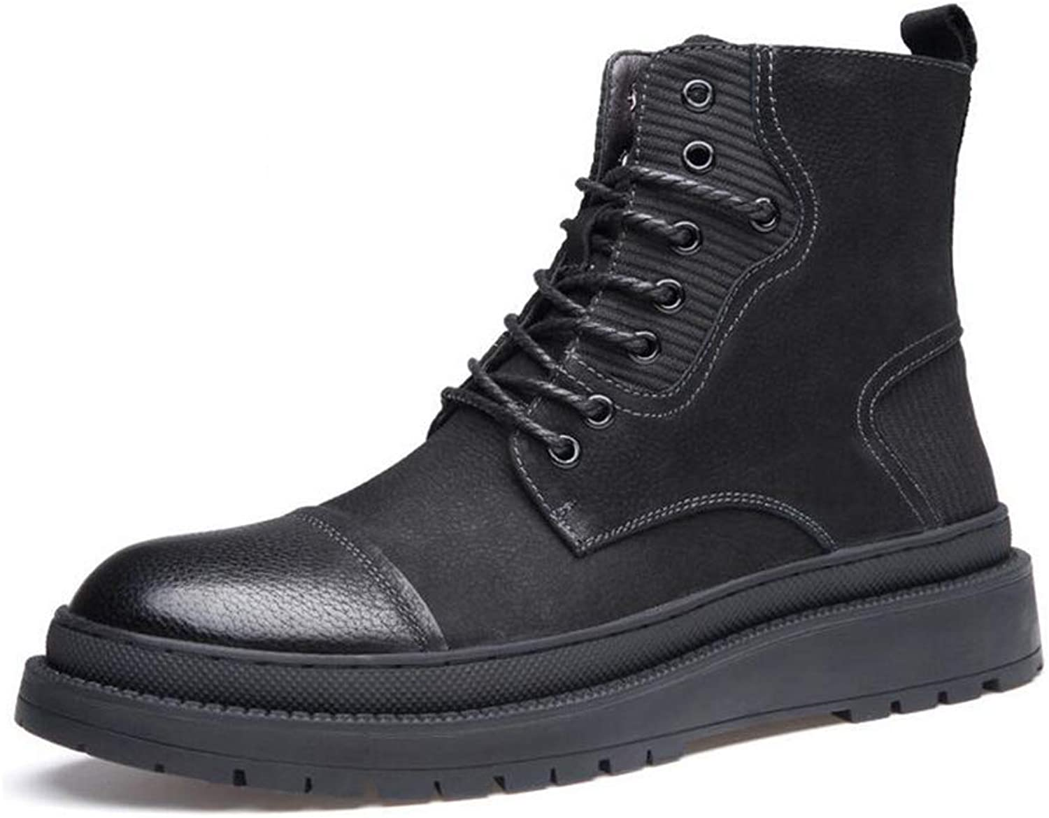 Y-H Men's shoes, Microfiber Fall winter High-top Military Boots, Slip-Ons Lace-up Martins Boots, Formal shoes,Outdoor Warm Plus Velvet Cotton Winter Boots,Formal Business Work