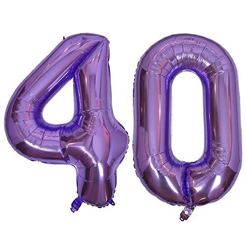 DIWULI, Palloncini giganti Numero XXL, Numero 40, Palloncini Viola, Palloncini Numero Viola, Palloncini Numero Viola, Palloncini in Foil Grande Numero No Anni, Palloncini in Foil 40th Compleanno
