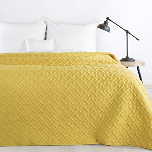 Design91 Tagesdecke Alara Gesteppter Bettüberwurf Einfarbig Steppung 3D Geometrisches Muster Ganzjährig (Senf, 220 x 240 cm)