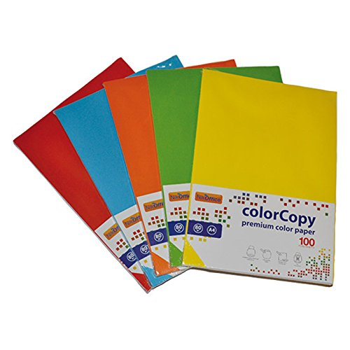 Inkset - 100 hojas de papel coloreado mixto de colores fuertes A4, 80 g, 210 x 297 mm