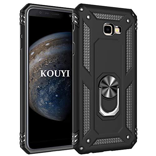 KOUYI Cover Samsung Galaxy J4 Plus,Custodia 360° Girevole Regolabile Ring Armor Bumper TPU Case Magnetica Supporto Silicone Custodie per Samsung Galaxy J4 Plus (Nero)