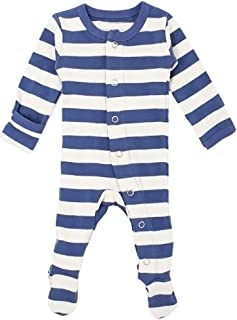 L'ovedbaby Unisex-Baby Striped Organic Cotton Footed Overall