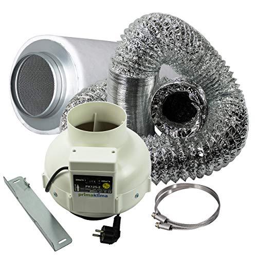 Cultivalley 2 Stufen Klima-Set Premium - 220/360m³ Rohrlüfter & 425m³ Aktivkohle-Filter 125mm Ø - Abluftset für Grow-Box Homebox Darkroom Hydroshoot Grow-Room