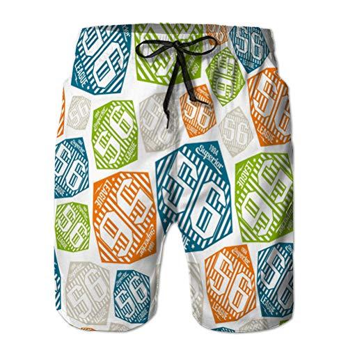 Yuerb Herren Sommer Atmungsaktive Badehose Beach Shorts nahtloses Muster Sport League Emb