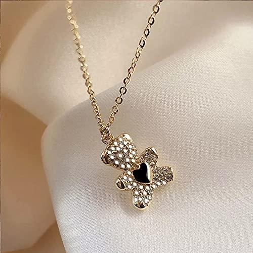 Moda Collar Joyas Gargantilla Collar de oso blanco plateado de moda, colgante de moda, cadena de clavícula simple, joyería fina para mujer para boda Parejas Fiesta San Valentín Cumpleaños Regalos