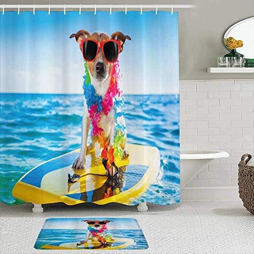 EricauBird Cortina de ducha con diseño de perro en el océano, surf, cachorro, natación, cómic, imagen de animales costeros, cortinas de baño, decoración de baño, 182 x 182 cm