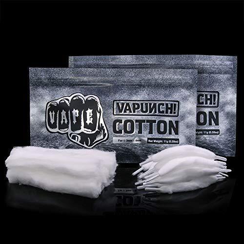 VAPUNCH COTTON (2 Pack) 100{80f450f35d106e11f037834febd7305ad52088de2a7ad4b6e388cbae0ebacba3} organische Vape Watte 10 Stück Cotton Bacon und 30 Stück Cotton Thread oben Ende der Schnürsenkel einfach zu installieren Vape für DIY