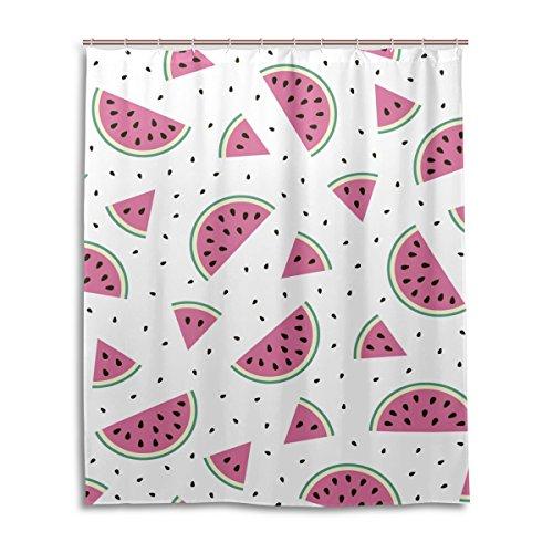 jstel Decor Duschvorhang Melone Wassermelone Muster Print 100prozent Polyester Stoff Vorhang für die Dusche 152,4x 182,9cm für Home Badezimmer Deko Dusche Bad Gardinen