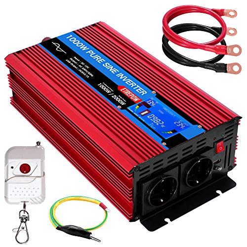 Wechselrichter 12v auf 230v Reiner Sinus 1000w ETREPOW Spannungswandler mit 2 EU-Steckdose und Einer 2,1A USB,Drahtlose Fernsteuerung,Digital Anzeige und 2 Lüftern-Spitzenleistung 2000w Kfz Konverter