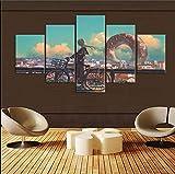ImpresionessobreLienzo,Beautiful Girl Poster 5 Piece Bedroom Decoration Canvas Anime Canvas Picture Wall Decor HD Picture Artwork (Sin Marco) Tamaño C