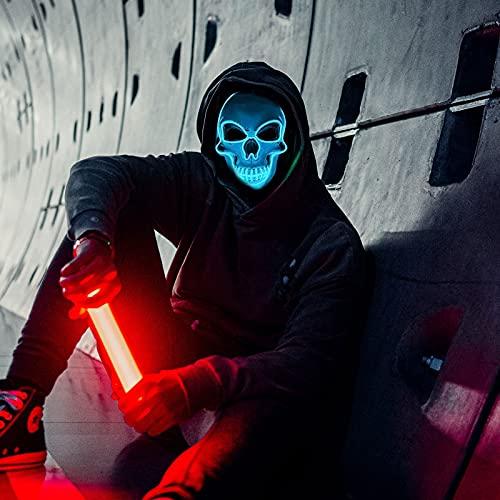 Dasongff Masque Halloween Lumineux de Crâne, LED Masque d'halloween Halloween Decoration pour Halloween,Noël, Carnaval, Cosplay, Fête, Mascarade, Costume Décorations (Light Blue, 1 pc)