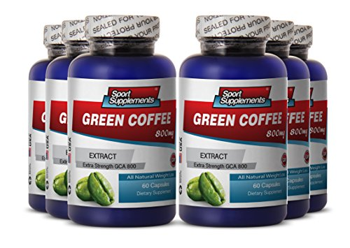 Green Coffee Slim - Green Coffee Extract 800mg - Increase Metabolism with Natura Green Coffee Bean Supplement (6 Bottles 360 Capsules)